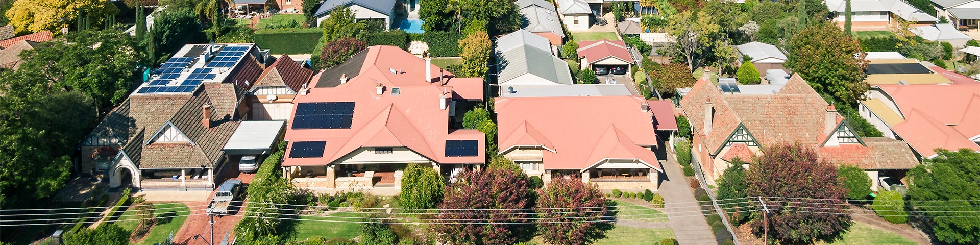 A row of houses in Adelaide's eastern suburbs